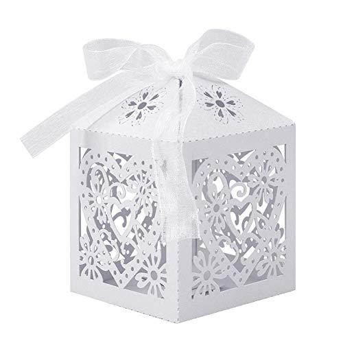 UNHO 25 Stück Schachtel Geschenkbox, Süßigkeit Kästen Gastgeschenke Gastgeschenk Kartonage Bonboniere Kasten für Hochzeit Geburtstag Baby Shower Feier