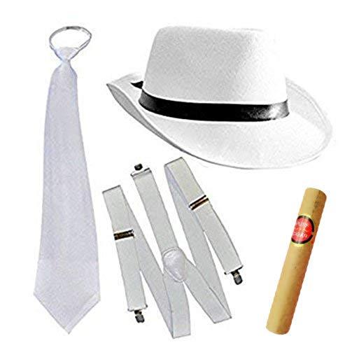 thematys Al Capone Mafia Gangster Set Hut + Krawatte + Hosenträger - 20er Jahre Kostüm-Set für Damen & Herren - perfekt für Fasching & Karneval (Weiß)