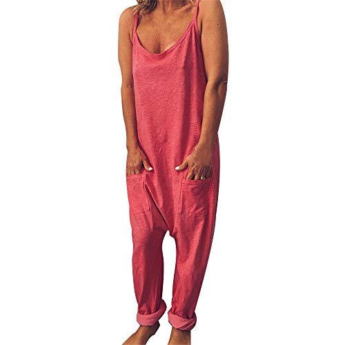Vertvie Damen Latzhose Beiläufige Lose Latzhose Lässig Cord Culottes Lange Taschen Täglichen Training Nette Strampler Overall Hosen Jumpsuit Rompers(Pink, S)