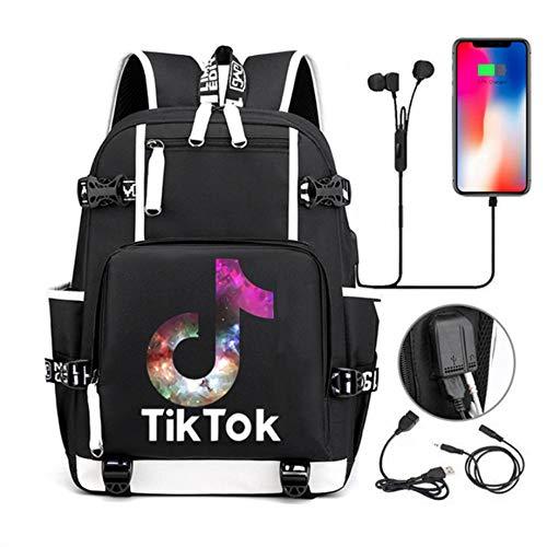 Bolso Bandolera Tiktok para Hombre y Mujer, para Bachillerato/Universidad, Bolso para portátil. Carga USB + Conector para Auriculares