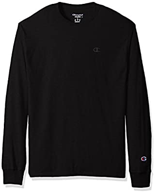 Champion Men's Classic Jersey Long Sleeve T-Shirt, Black, M