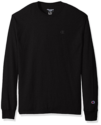 Champion Men's Classic Jersey Long Sleeve T-Shirt, Black, X-Large