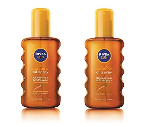 Nivea Sun Carotene Deep Tanning Oil Spray NO SPF, Golden & Lond-Lasting Tan 200ml (Pack of 2)