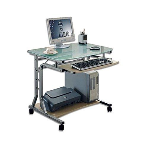 OEM de escritorio para ordenador compacto de metal y cristal con ruedas