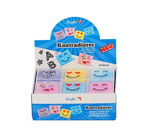 Läufer 12427 Smiley Knetgummi-Radierer in transparenter Verpackung, Formbarer Radiergummi, Knetradierer-Set mit 18 Stück