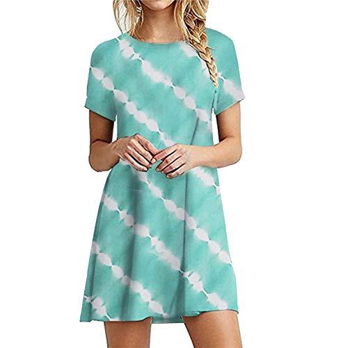 TWIFER Damen Sommerkleid Tie-Dye Boho Abend Party Kleid Elegant Strand Kurzarm Minikleid Kurz Tshirt Kleid Casual Rundausschnitt Strandkleid