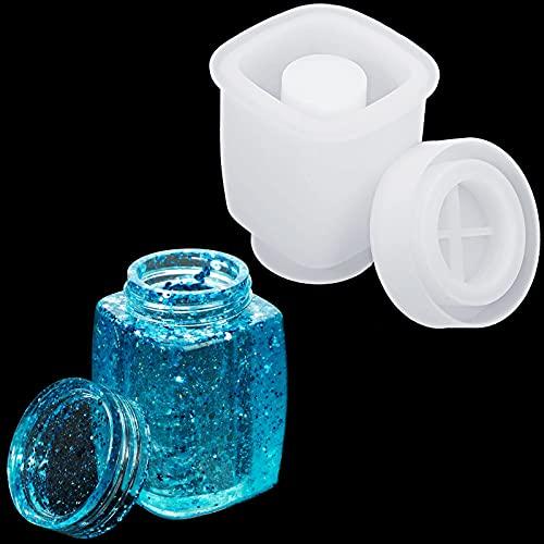 Moldes de Resina de Molinillo de Especias Molde de Fundición Epoxi de Silicona de Tarro con Tapa para Trituradora de Especias de Hierbas Contenedor de Joyas Botella de Almacenaje de Especia