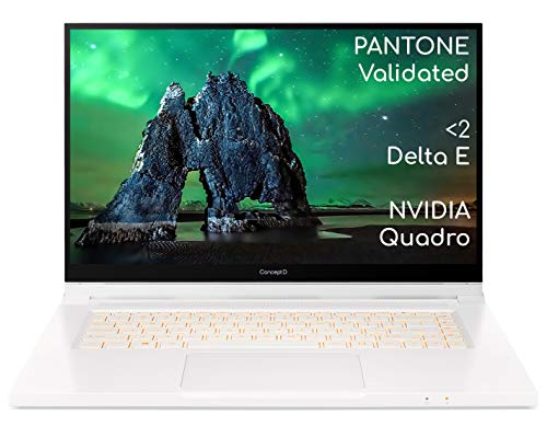 Acer ConceptD 3 Ezel Pro CC315-72P 15.6 Inch Creator Laptop (Intel Core i7-10750H, 16GB RAM, 1TB SSD, NVIDIA Quadro T1000, Full HD Touchscreen Display with Active Stylus, Windows 10 Pro, White)