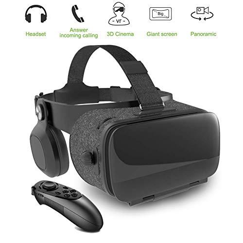 HUA JIE Gafas VR de Realidad Virtual,3D VR Gafas con Remoto Controlador, para Juegos Visión Panorámico Immersivo para iPhon X/7/ 7plus /6s 6/Plus Galaxy s8/ s7 con Pantalla de 5,0 a 7,0 Pulgadas