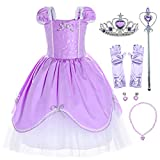 Joy Join Princess Costume Dress for Toddler Girls Birthday Party with Gloves,Crown,Wand,Necklace 18-24 Months