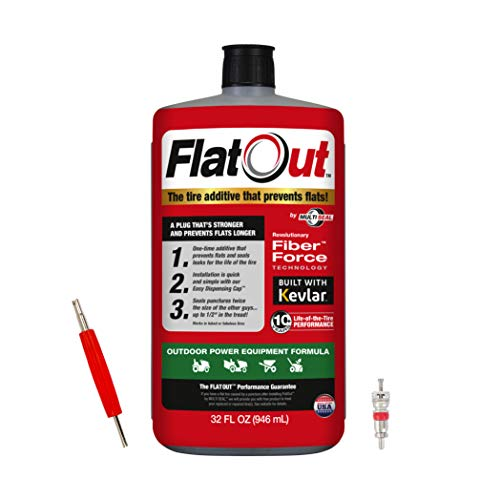FlatOut Tire Sealant (Outdoor Power Equipment Formula), Great for Lawn Mowers, Small Tractors, Wheelbarrows, Woodchippers, Snow Blowers and More, 32-Ounce with Valve Core Tool and Replacement, 1-Pack