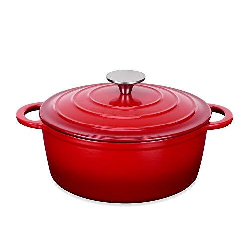 Velaze Olla de Hierro Fundido, Cacerola Holandesa de Esmaltado Antiadherente Anticorrosiva Redonda de Color Rojo con Tapa Rociadores para Cocina Estofado, Paella, Ollas de Gran Capacidad 2.5L