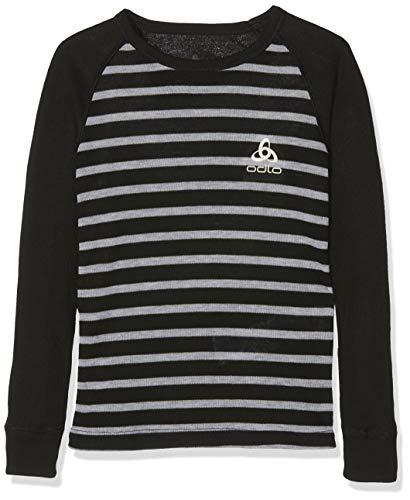 Odlo Kinder BL TOP Crew Neck l/s Active WARM Kids Unterhemd, Black - Grey Melange - Stripes, 140