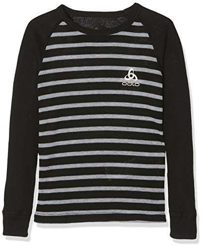 Odlo BL Top Crew Neck L/S Active Warm Kids Longsleeves Enfant Black - Grey Mélange - Stripes FR: M (Taille Fabricant: 140)