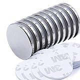 TooTaci super forti magneti al neodimio con biadesivo, potenti magneti in terre rare permanente. frigo, fai da te, Building, Scientific, artigianato, e ufficio magneti, 32x 3mm, confezione da 10