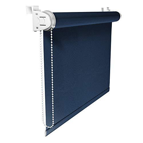Victoria M. Klemmfix Verdunkelungsrollo ohne Bohren Rollo 45 x 150 cm, Dunkelblau, Seitenzugrollo Verdunkelung für Fenster und Türen