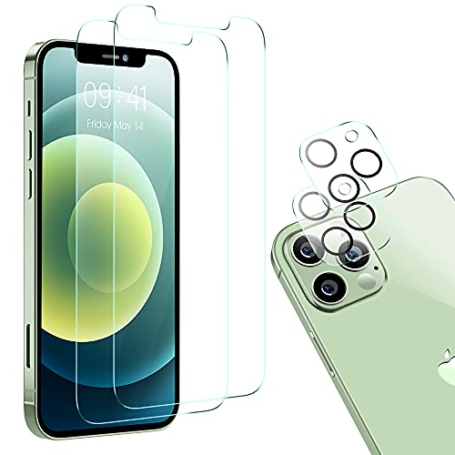 Youngkits Pellicola Protettiva Compatibile con iphone 12 Pro 6,1 Pollici, Contenere 2 Pack Pellicola Protettiva e 2 Pack Vetrino Fotocamera Pellicola, 9H Hardness Vetro Temperato Protezione
