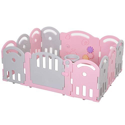 HOMCOM Baby Laufgitter, Absperrgitter, 12 Elemente Schutzgitter, Korb, Zahnräder, HDPE, Rosa, 158 x 119,5 x 61,5 cm
