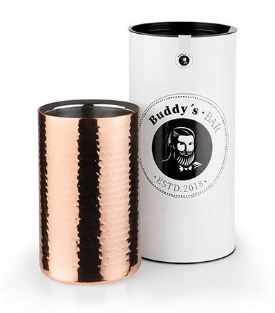 Buddy's Bar - Refrigeratore per bottiglie, glacette per bottiglie, 12 x 20 cm, doppia parete, diametro interno 10 cm, glacette per vino adatta a bottiglie da 0,7 L - 1,5 L, rame martellato