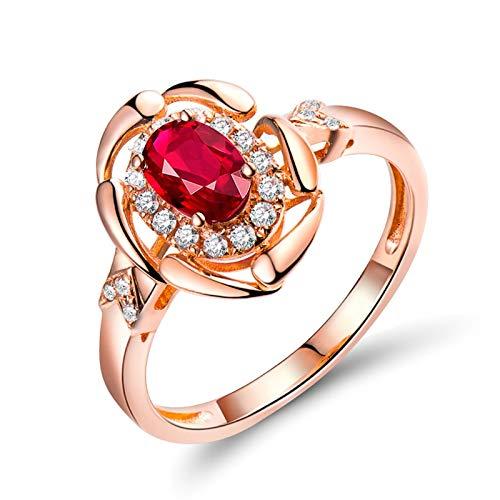 AnazoZ Anillos Mujer Rubí,Anillo Oro Rosa 18 Kilates Oro Rosa y Rojo Oval Rubí Rojo 0.54ct Diamante 0.13ct Talla 17