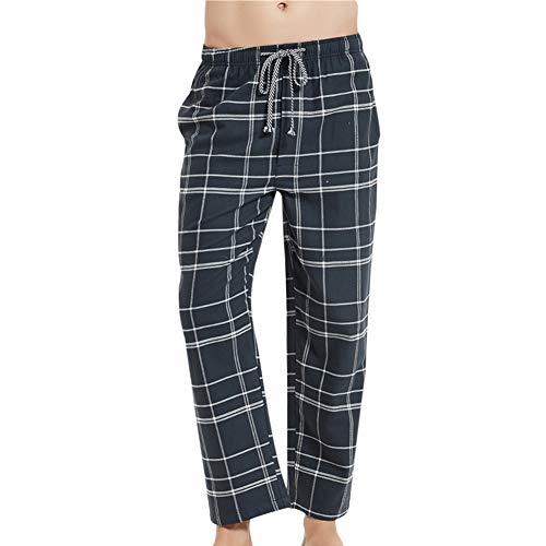 Allthemen Schlafanzughose Herren Gestreift Kariert Hose Lang Pyjamahose Baumwolle Freizeithose Nachtwäsche für Männer