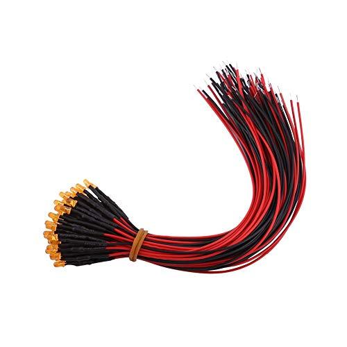 50Pcs 3/5 / 10mm Vor-verdrahtete veränderte LED Diffuse Emittierende Leuchtdiode multi Farben Sortiert -Licht DC 9-12V(Orange-3mm)