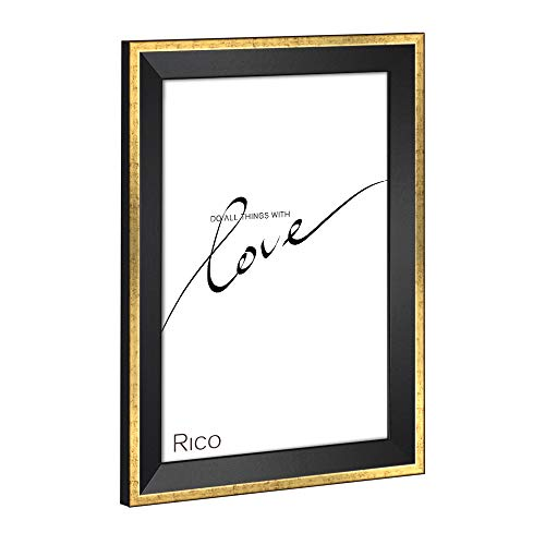 HaakDesign Bilderrahmen schmal RICO Glanz Edition 60 X 90 cm Schwarz Gold glänzend Rahmen Elegant