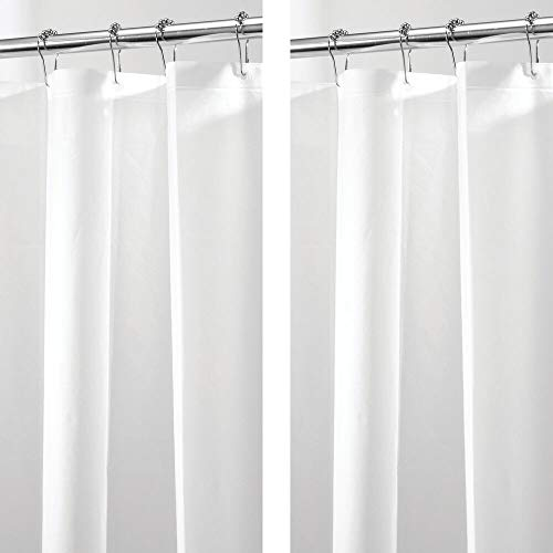mDesign 2er-Set PVC-freier Duschvorhang aus PEVA – geruchloser, wasserfester Duschvorhang mit Magnetenim Saum – ideal als Badewannenvorhang 183 cm x 183 cm – weiß