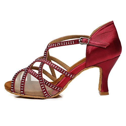 AOQUNFS Zapatos de Baile Latino Mujer Salsa y Bachata Cerrados Zapatos de Baile de Salon,YCL441-5,Rojo,EU40