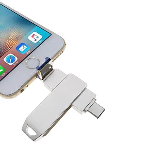 USB 3.0 Flash Drives para iPhone iOS Almacenamiento Externo 3-en-1 Memoria de Almacenamiento Pen Drive con Tipo-C para iPad/Android/PC plata 64 GB