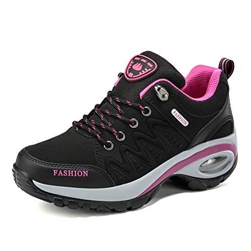QZBAOSHU Damen Abnehmen Walkingschuhe Turnschuhe Fitness Keile Plattform Schuhe Sneakers(40,Schwarz Luftkissen
