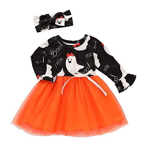 Proumy ◕ˇ∀ˇ◕ Kinder Halloween Kostüm Top Set Baby Kleidung Set Kleinkind Kinder Baby Mädchen Kürbis Striped Print Langarm Halloween Kleid + Stirnbänder (Orange,3T)