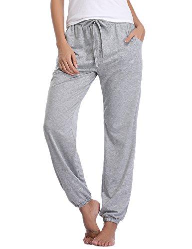Aibrou Damen Modal Lässige Gestrickte Schlafanzughose Pyjamahose Grau XL