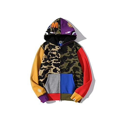 Trsiufyo Felpa con Cappuccio da Uomo Bape con Cappuccio Shark Head Zipper Jacket Camo Print-XL