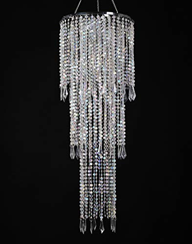 "FlavorThings Sparkling Iridescent Acrylic Beaded Hanging Chandelier (W10.25'H30""),3 Tiers Beads Pendant Shade, Ceiling Chandelier Lampshade with Acrylic Jewel Droplets, Beaded Lampshade"