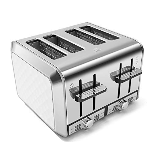 Fortune Candy KST012 4Slice Toaster Stainless Steel Housing 7 Shade Settings Extra Wide Slots for Bagels 11 L x 108 W x 74 H inches Diamond Pattern White