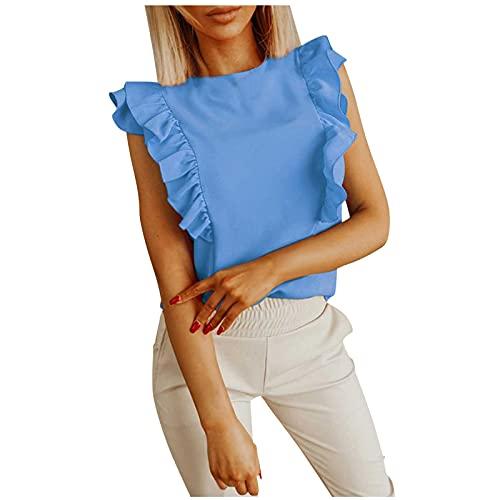 Racerback Tank Tops for Women Elegant&Chic Ruffle Sleeveless Solid O-Neck Vest Summer Casual Slim Soft Blouse