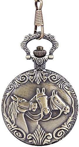 N/ A Herren Taschen- und Taschenuhren Vintage Dünne Kette DREI Pferde Bronze Taschenuhr geprägte Pferdetaschenuhr