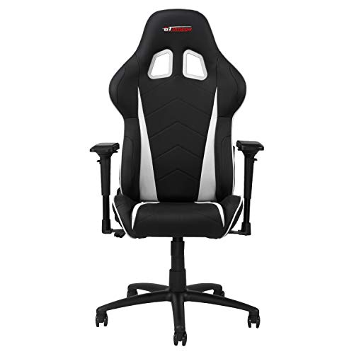 GT OMEGA PRO Racing Gaming Chair with Lumbar Support - Ergonomic PVC Leather Office Chair with 4D Adjustable Armrest & Recliner - Esport Seat for Ultimate Gaming Experience - Black Next White