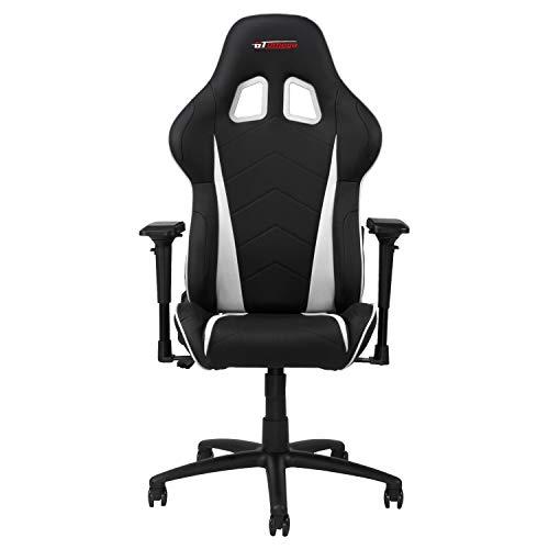 GT OMEGA PRO Racing Gaming Stuhl mit Lendenwirbelstütze - Ergonomischer PVC Leder Bürostuhl mit 4D verstellbare Armlehne & Recliner - Sportsitz für Ultimate Gaming Experience - Schwarz Weiter Weiß