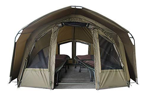 MK-Angelsport 2 Personen Karpfenzelt mit - 3,02x2,92x1,65m großes, wasserfestes Fort Knox 2.0 Angelzelt - 160cm hohe Innenkabine - temperaturstabiles Anglerzelt