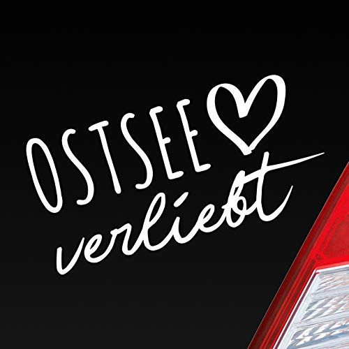 Hellweg Druckerei Auto Aufkleber Ostsee verliebt Herz See Osten East Liebe Car Sticker Weiß Glanz