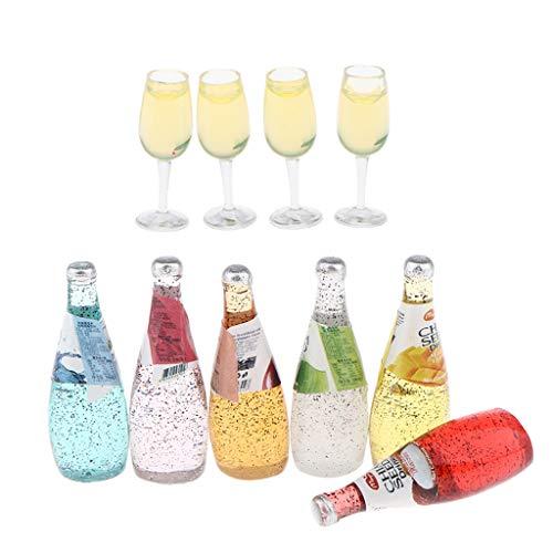 yotijar 1:12 Dollhouse Miniatures Exquisite Cocktail Bottles Tumbler Toy Accessory