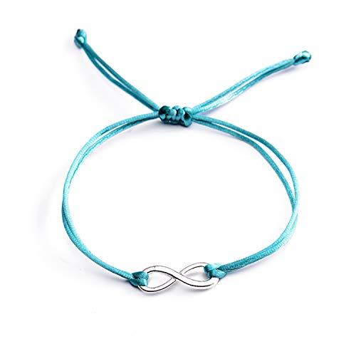Pulsera Brazalete, Joyeria Regalo, All-Match Candy Colors Infinity Bracelets For Women Couple Silver Color Alloy Charm Lucky Red String Bracelets Jewelry Lake Blue