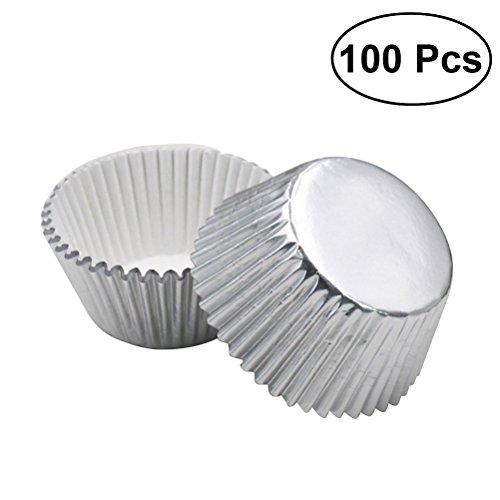 ULTNICE 100 stücke Silber Folie Cupcake Liner Aluminium Verdickt Backen Muffin Pappbecher Fällen (Silber)
