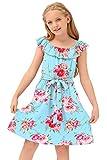 BesserBay Casual Ruffle Elastic Neckline Sleeveless Light Blue Floral Knee Length Swing Dress for Girl 11-12 Years