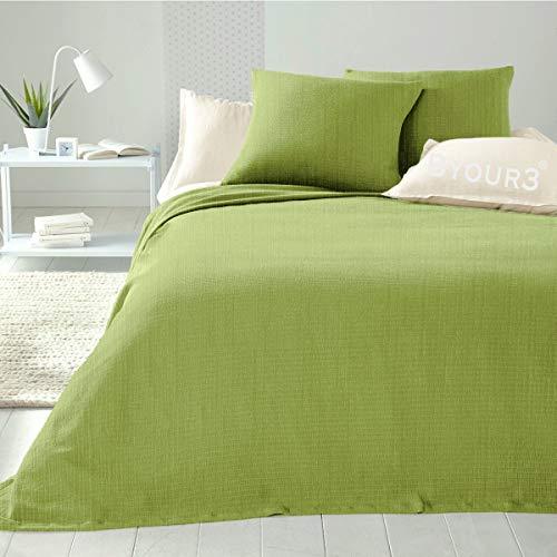 Byour3 Colcha de algodón para cama individual de una plaza y media, artesanal, primaveral, verano, manta multiusos multiusos para sofá, gran foulard (verde manzana, matrimonial)