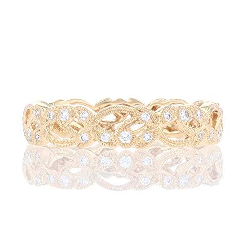 Baalaji Jewellers 0.10 CT Round Cut Created Diamond Filigree Wedding Band Ring 14K Yellow Gold Finish Ring Size-12.5