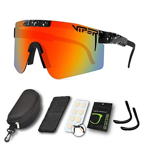 CWWHY Sport Sonnenbrille, Polarisierte Sonnenbrille, Winddichte Staubdichte Brille Für Den Außenbereich, UV400 Verspiegelte Linse, Für Frauen Und Männer Alle Arten Von Outdoor-Aktivitäten,C06
