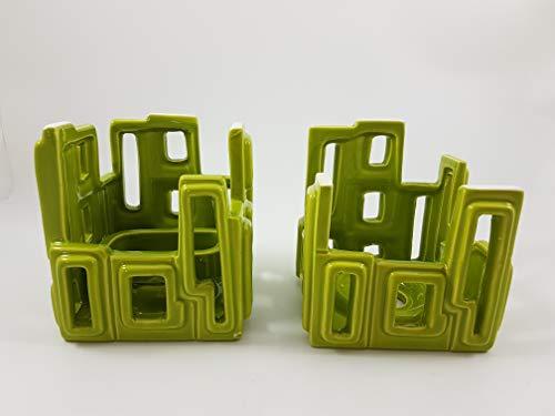 1a PartyLite - Raumduftöl Kerzenhalter CAMBIA 2er-Set - P90622 - grün
